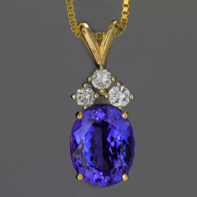 Tanzanite and Diamond Pendant 3.22 Carats