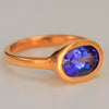 Tanzanite Ring in 22kt. Gold Heavy Bezel