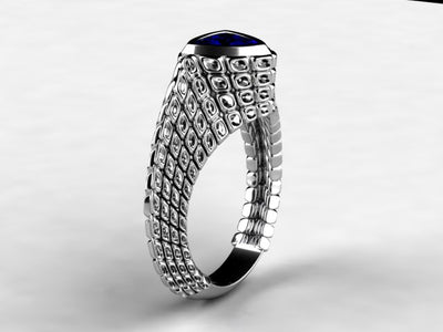 Custom Trilliant Tanzanite Ring With 7mm Trilliant