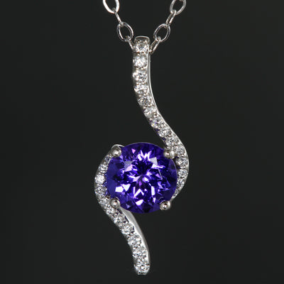 Tanzanite & Diamond Swirl Pendant