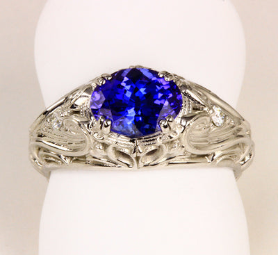 White Gold Tanzanite Ring by Christopher Michael
