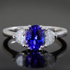Tanzanite Ring With half Moon Diamonds