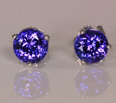 6 mm Tanzanite Earrings With Blue Violet Vivid Color