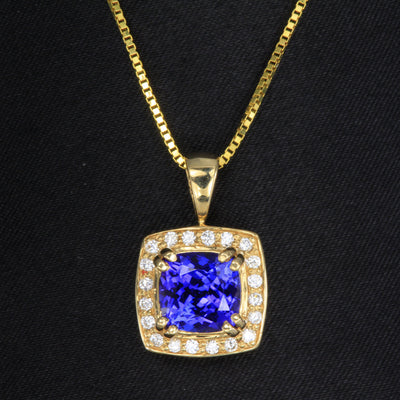 Tanzanite 2.65 Carat Square Cushion Pendant Yellow Gold