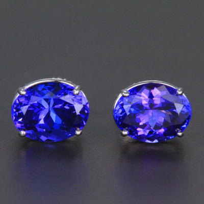 14K White Gold Oval Tanzanite Stud Earrings 4.01 Carats