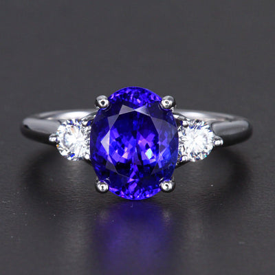 14K White Gold Oval Tanzanite and Diamond Accent Ring 3.39 Carats