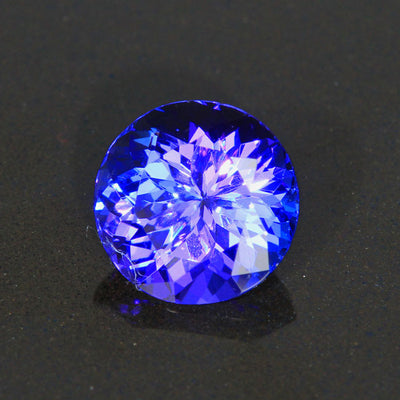 Blue Violet Round Brilliant Tanzanite Gemstone 2.84 Carats