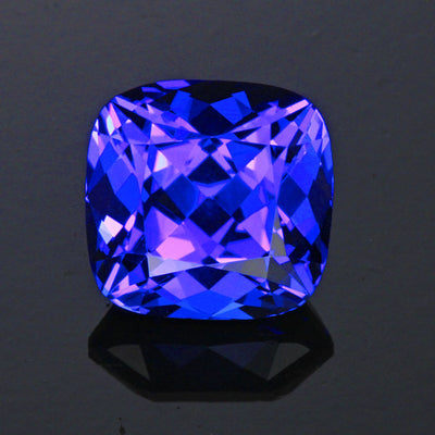 violet blue square cushion tanzanite gemstone