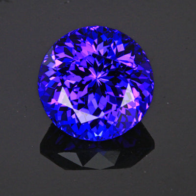 Blue Violet Round Brilliant Cut Tanzanite Gemstone 8.75 Carats