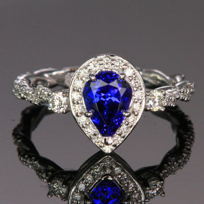 14K White Gold Pear Shape Tanzanite and Diamond Ring 1.19 Carats Designed by Christopher Michael