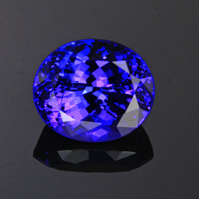 Violet Blue Exceptional Oval Tanzanite Gemstone 9.13 Carats