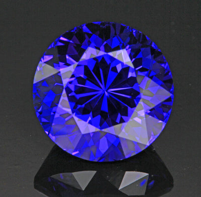 Blue Violet Round Brilliant Cut Tanzanite Gemstone 9.16 Carats