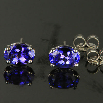 14K White Gold Blue Violet Vivid Oval Tanzanite Stud Earrings 3.18 Carats HOLD for Virginia