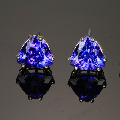 14k White Gold Trilliant Tanzanite Earrings 3.76 Carats 8mm