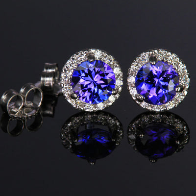 14K White Gold Round tanzanite Stud Earrings with Halo 1.36 Carats
