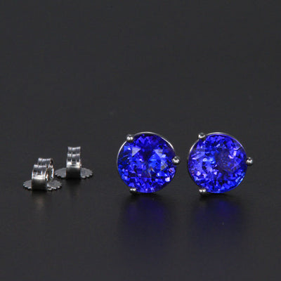 14k White Gold Round Tanzanite Stud Earrings 2.98 Carats