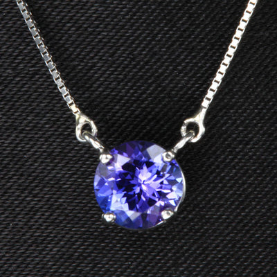 14k White Gold Round Tanzanite Necklace .91 Carats