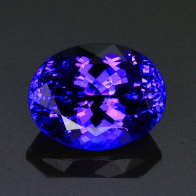 Blue Violet Exceptional Oval Tanzanite Gemstone 17.76 Carats