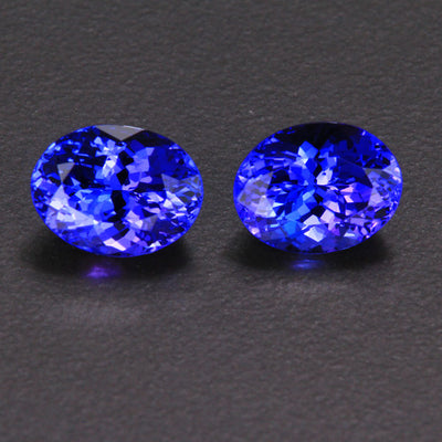 Blue Violet Oval Pair Tanzanite Gemstone 5.02 Carats