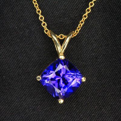 14K Yellow Gold Square Cushion Tanzanite Pendant 3.02 Carats