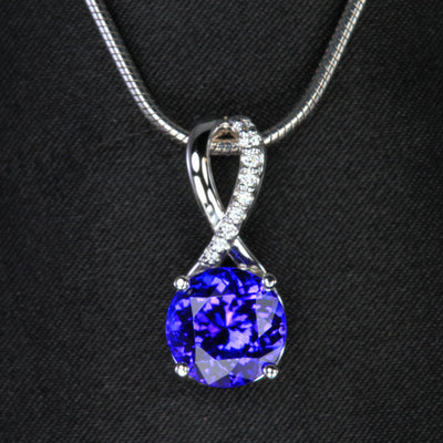 14K White Gold Round Brilliant Tanzanite and Diamond Pendant 3.42 Carats
