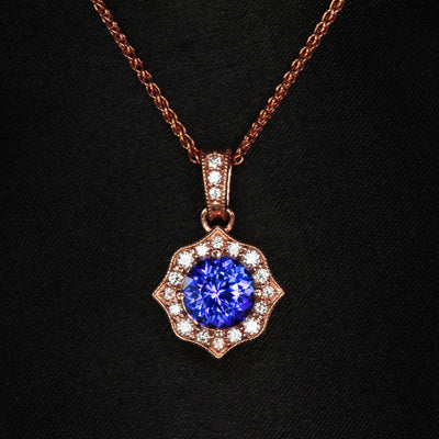 rose gold tanzanite diamond halo diamond bail pendant