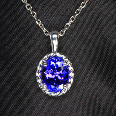 14K White Gold Oval Tanzanite Pendant 2.14 Carats
