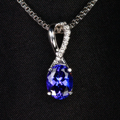 14K White Gold Oval Tanzanite and Diamond Pendant 2.11 Carats
