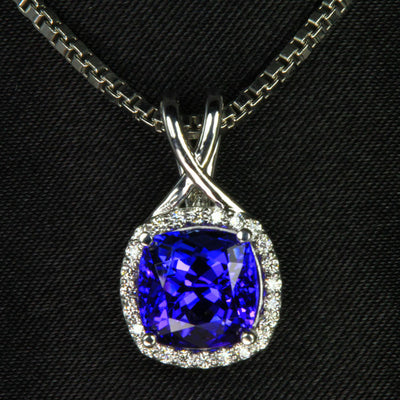 14K White Gold Square Cushion Tanzanite with Diamond Halo Pendant 3.34 Carats