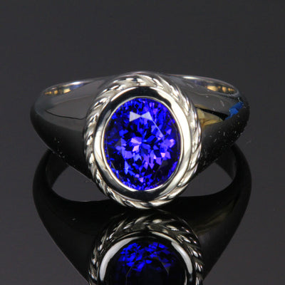 14K White Gold Oval Tanzanite Ring 3.89 Carats Designed by Christopher Michael