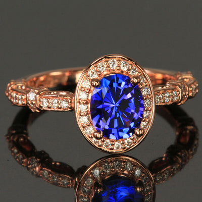 14k Rose Gold Oval Tanzanite and Diamond Halo and Shank Ring by Christopher Michael 1.35 Carats