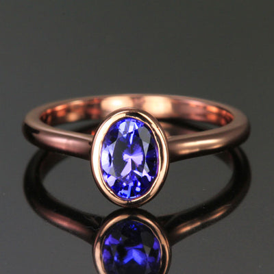 14K Rose Gold Oval Bezel Set Tanzanite Ring .91 Carats