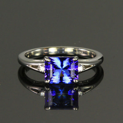 14K White Gold Blue Violet Vivid Barion Style Emerald Cut Tanzanite and Diamond Ring 1.95 Carats