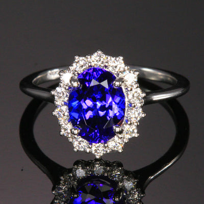 14k White Gold Oval Tanzanite with Halo of Diamonds 1.86 Carats