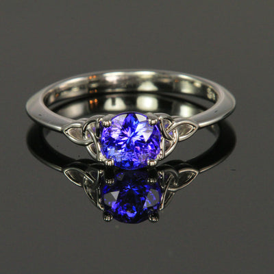 14K White Gold Round Tanzanite Ring .86 Carats