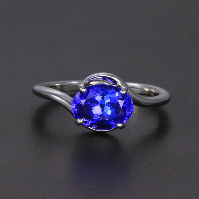 14K White Gold Oval Bypass Tanzanite Ring 2.30 Carats