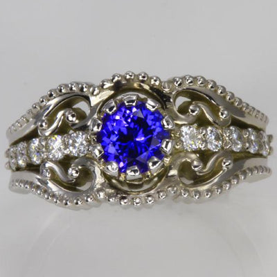 14K White Gold Round Tanzanite and Diamond Ring Christopher Michael Design .85 Carats