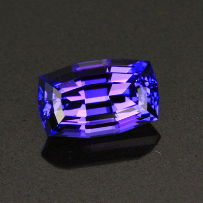 Blue Violet Vivid Stepped Antque Cushion Tanzanite Gemstone  1.32 Carats