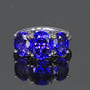 three stone oval tanzanite ring
