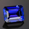 blue violet emerald cut tanzanite gemstone