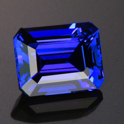Blue Violet Exceptional  Emerald Cut Tanzanite 12.45 Carats