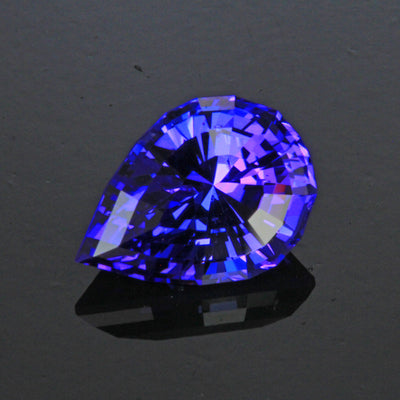 Blue Violet Stepped Pear Shape Tanzanite Gemstone 4.52 Carats