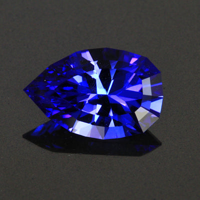 Violet Blue Vivid Angular Pear Shape Tanzanite Gemstone 6.87 Carats