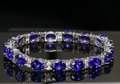 Tanzanite Round Tennis Bracelet in White Gold