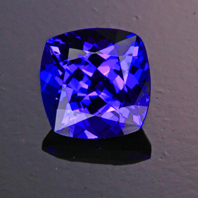 Blue Violet Exceptional Square Cushion Tanzanite Gemstone 3.09 Carats