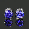 14K White Gold Round Brilliant Tanzanite Stud Earrings