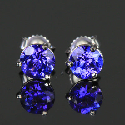 14K White Gold Round Brilliant Tanzanite Stud Earrings 1.57 Ct