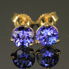 Tanzanite 14K Round Stud Earrings 1.28 Carats