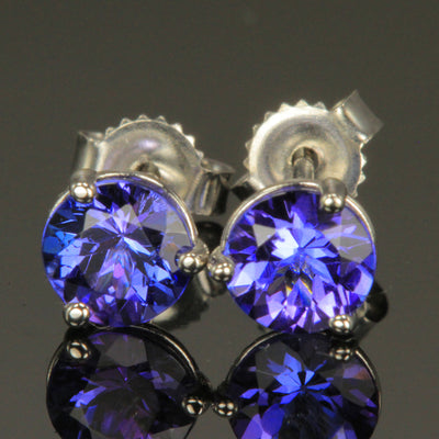 14K White Gold Tanzanite Round Stud Earrings 1.22 Carats