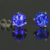 14K White Gold Round Brilliant Cut Tanzanite Stud Earrings 3.17 Carats